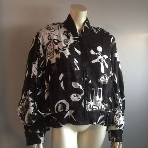 VTG 1990s Graffiti Bomber Jacket Rayon PLUS SIZE